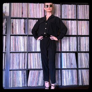vintage black career jumpsuit with gold buttons